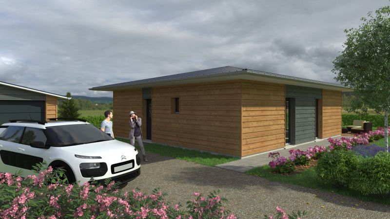Plan luc t4 85 m maison ossature bois rt 2012 en for Maison ossature bois normandie