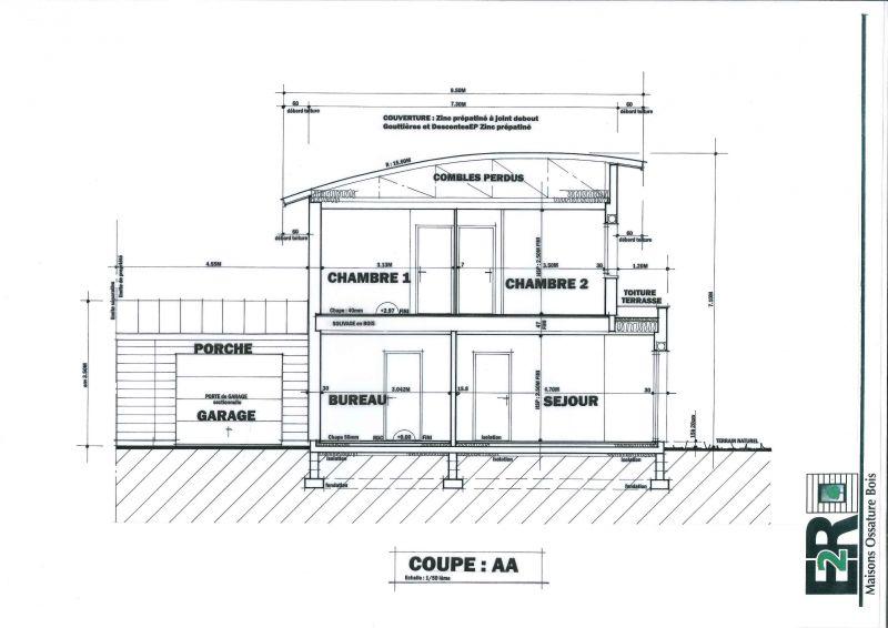 Plans maison rt 2012 ossature bois de 132 m proche de - Plan de coupe maison ...