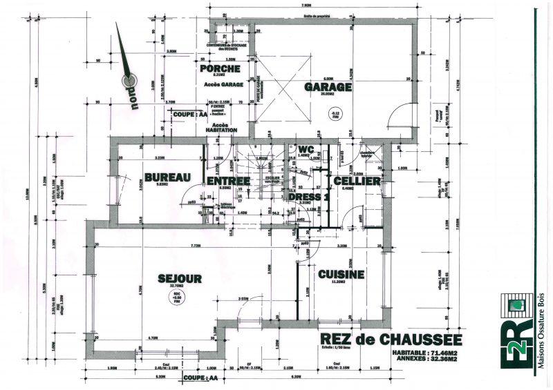 Plans maison rt 2012 ossature bois de 132 m proche de for Construire une maison individuelle rt 2012