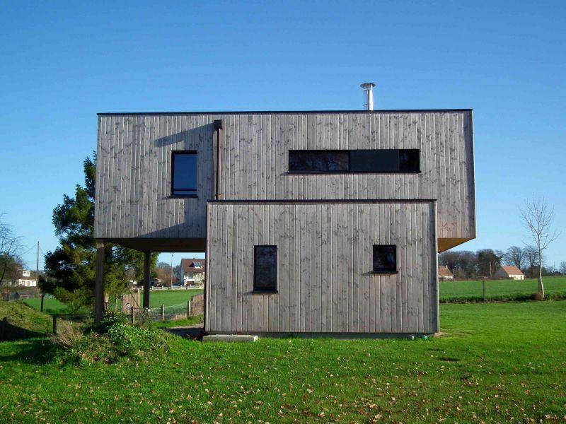 Maison rt 2012 ossature bois 101 m proche de rouen 76 normandie e2r ma - Construire une maison cubique ...