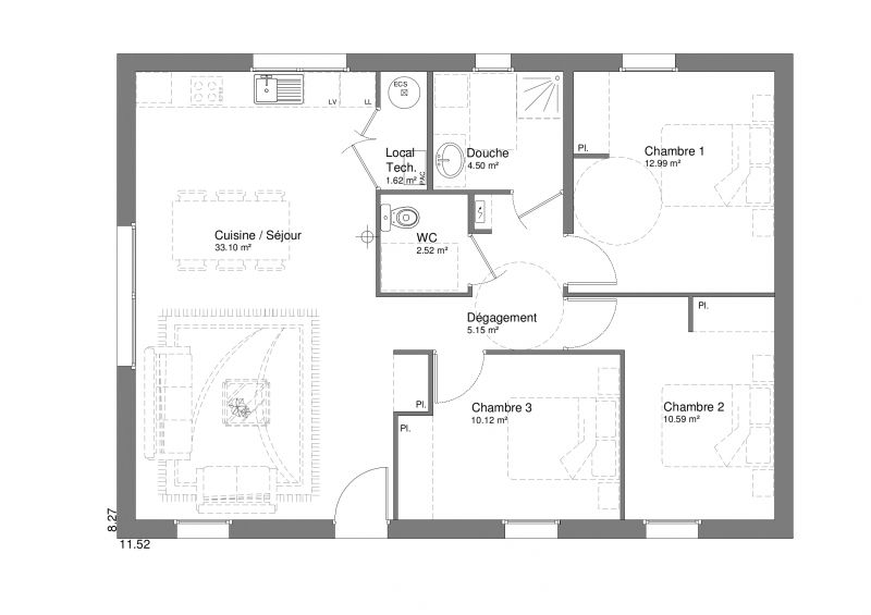 Plan new t4 80 m maison ossature bois rt 2012 en for Prix m2 maison rt 2012